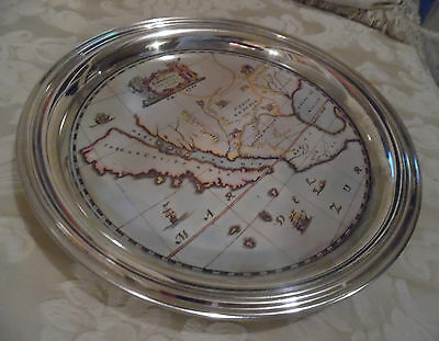 Map of California Gulf of Mexico Cocktail Beer Bar Tray Elegant Silverplate