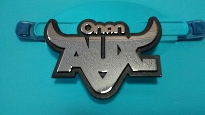 "Onan 4.0 Aux Emblem Chrome Name Plate 4"" Wide Heavy Chrome Nos"