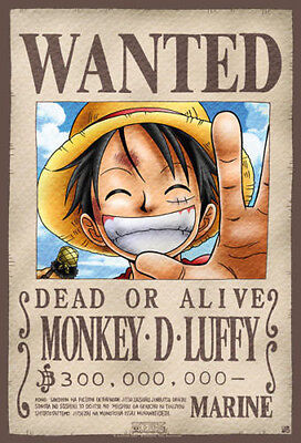 One Piece Monkey D Luffy Wanted Poster New English Official 52 CM  X  38 CM