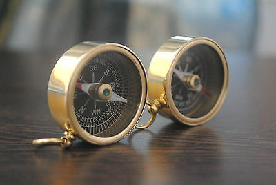 Set of 2 Solid Brass Pocket Compass Nautical Maritime Camping Hiking Magnetic