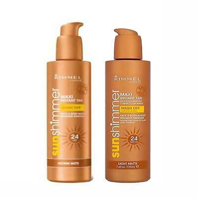 Rimmel London Sun Shimmer Maxi 24HR Instant Tan 225ml Light Matte & Medium matte