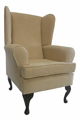 Wing Back Queen Anne Chair Fawn Basketweave Fabric