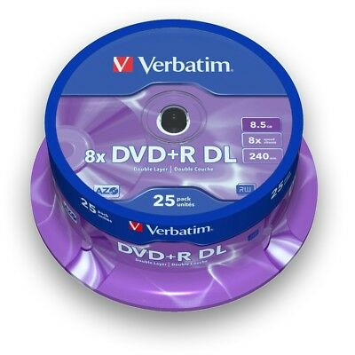 VERBATIM ROHLINGE DVD+R Double Layer 8 x SPEED / 8,5 GB / 25er SPINDEL Nr. 43757