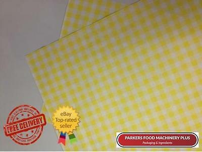 """Duplex Yellow Paper Gingham Sheets -10x15"""" Food Delicatessen Wrapping-1000 Sheet"""