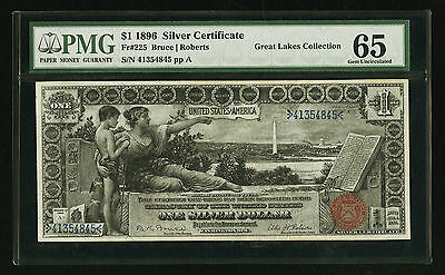 $1 1896 EDUCATIONAL SILVER CERTIFICATE PMG 65 EPQ RARE Fr 225 BEAUTIFUL