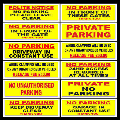 No Parking / Gates / Garage / Wheel Clamp / Keep Driveway Clear Sign Or Sticker