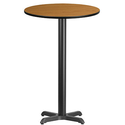 24'' Round Natural Laminate Table Top With 22'' X 22'' Bar Height Base