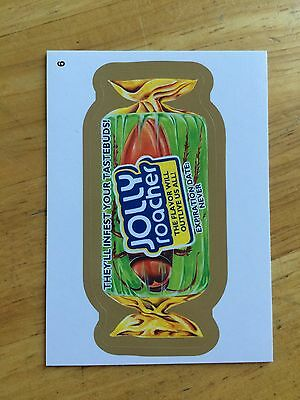 2014 1 WACKY PACKAGES GOLD BORDER RARE CHASE PARALLEL STICKER JOLLY ROACHER 6