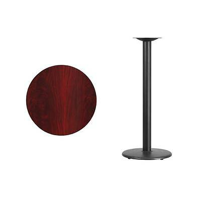24'' Round Mahogany Laminate Table Top With 18'' Round Bar Height Base