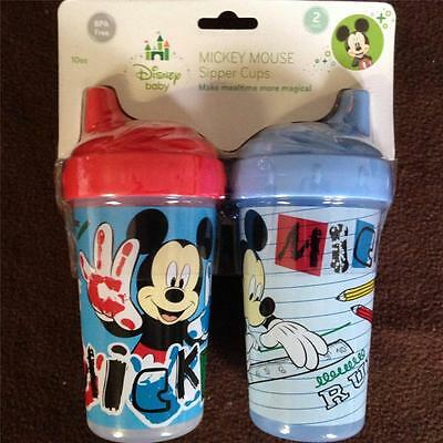Disney Baby Blue & Red Toddler MICKEY MOUSE Sippy Cups ~ BPA Free ~ 2 Pack