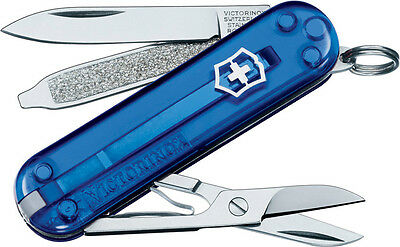 Victorinox Classic Blue Cobalt Translucent SD Knife Gift Tin Swiss Army Pocket
