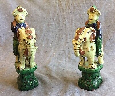 A Pair Of Chinese Porcelain Figures On Elephant Backs Roof Tiles Qing Dynasty