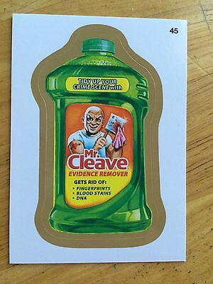 2014 1 WACKY PACKAGES GOLD BORDER RARE PARALLEL STICKER MR. CLEAVE 45 AXE DNA