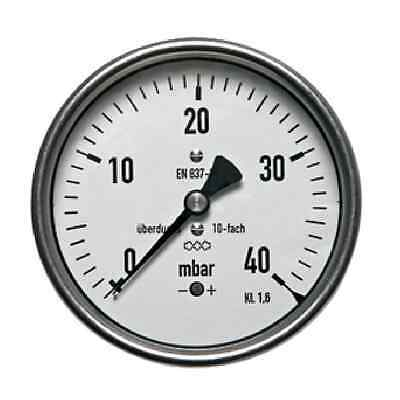 "160 mm MANOMETER HORIZONTAL -250/0 mbar G 1/2"" up to 5x be overloaded"