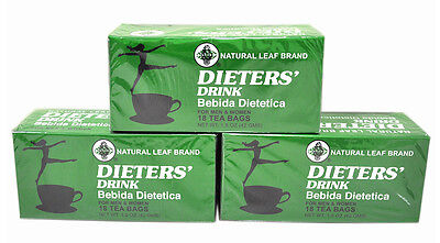 3 BOXES OF Dieters' Drink Bebida Dietetica Natural Leaf Brand Dieters 54 Tea Bag
