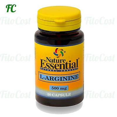L-ARGININA 500mg. 50 Cápsulas - NATURE ESSENTIAL  Fatiga cansancio salud sexual