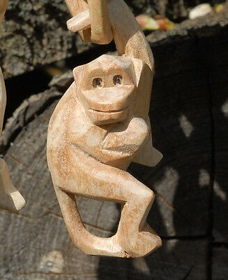 Wooden hand carved hanging monkey Pk 10pcs woodcarving