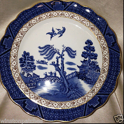 """BOOTHS CHINA ENGLAND REAL OLD WILLOW A8025 DESSERT PIE PLATE 6 7/8"""" GOLD TRIM"""