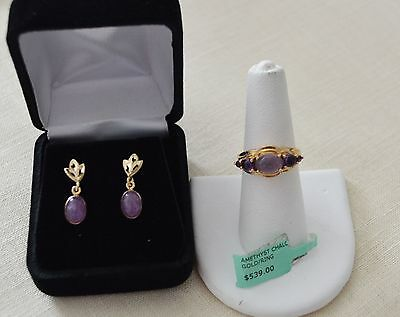 Genuinel Amethyst/Chalcedony ring and earrings pair for one price solid YG NIB