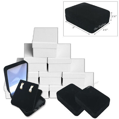 LOTS 12x QUALITY BLACK VELVET EARRING BOX JEWELRY SHOWCASE DISPLAYS PENDANT BOX