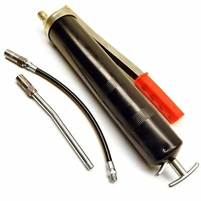 15oz Grease Gun with Flexi and Fixed Hoses Lever Action Piston Grip Pump SIL69