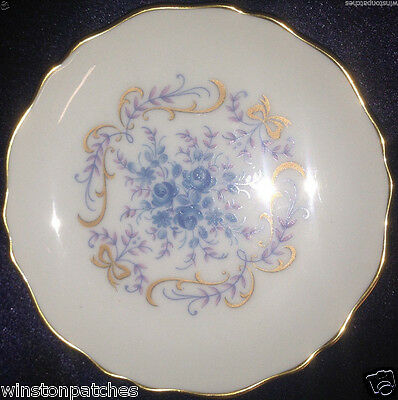 "LIMOGES CASTEL FRANCE COASTER 4 1/4"" BLUE FLOWERS PINK LEAVES GOLD TRIM"