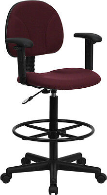 Burgundy Fabric Drafting Stool Chair with Footring and Arms