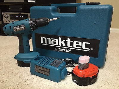 Maktec by Makita MT065 Cordless Drill 18V Like N EW! CASE BUNDLE INCLUDED CLEAN!