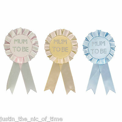 MUM TO BE New Baby Shower Party Award Ribbon Rosette Badge Brooch