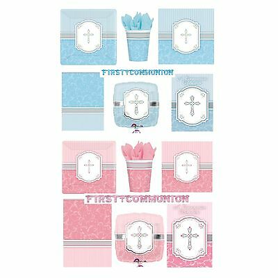 COMMUNION BLUE & PINK BLESSING Tableware & Decorations {Amscan}(Banner/Balloon)