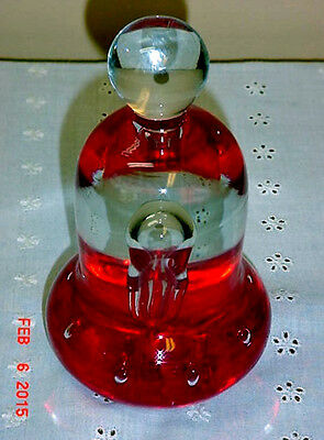 Vintage St. Clair Paperweight  Red Controlled Bubbles Bell Shape 2.5 lbs. Pretty