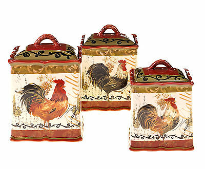 Certified International Tuscan Rooster 3 Piece Canister Set