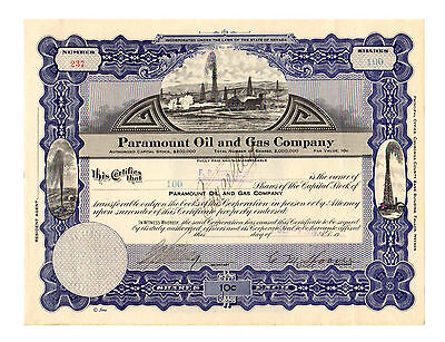 Paramount Oil and Gas Company Stock Certificate