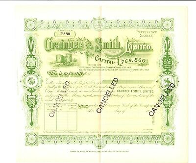 England - Grainger & Smith, Limited Stock Certificate