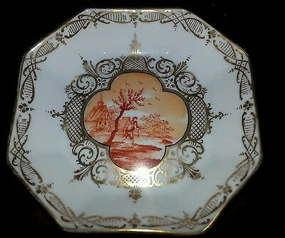 Vintage Dresden Gilded Handpained fishing     4 1/2 in.octagon Dish Free Shippin