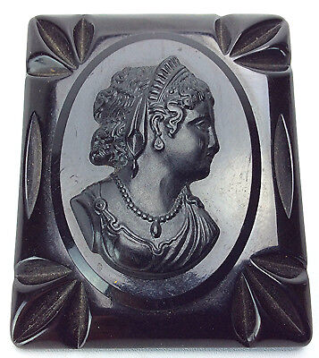 Victorian Solid Black Carved Bakelite Cameo Mourning Brooch Pin Woman