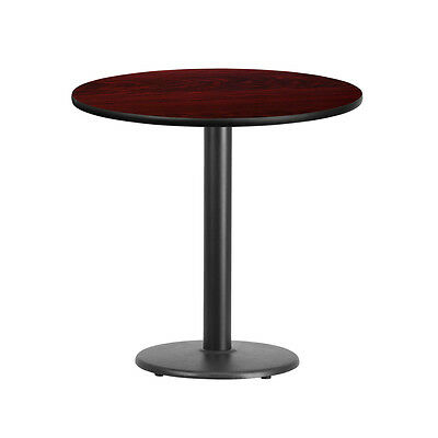 30'' Round Mahogany Laminate Table Top With 18'' Round Table Height Base
