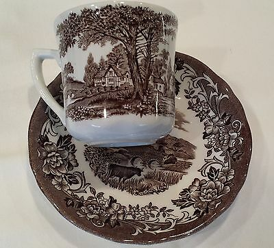 """J&C MEAKIN IRONSTONE CUP/SAUCER-""""ROMANTIC ENGLAND""""-MADE IN ENGLAND (#9-2)"""