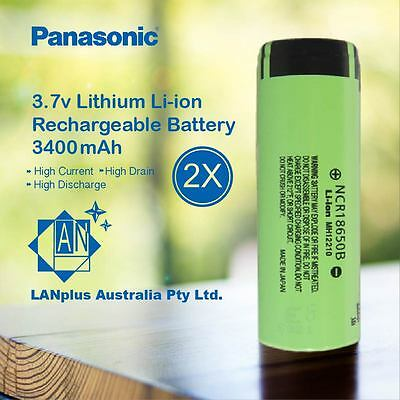 2x Panasonic NCR 18650B Rechargeable Battery 3400mAh 3.7v Lithium-ion Flat Top