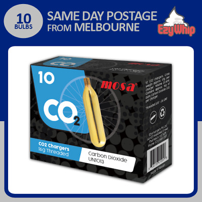 Threaded Tyre Inflator Chargers 16G Cartridge X 10 Carbon Dioxide Bulbs Co2