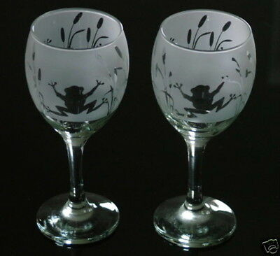 Frog gift Wine Glasses by studio Glass in the Forest