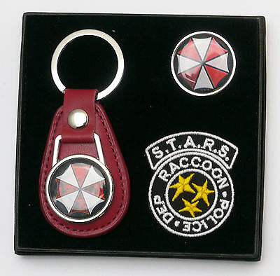 RESIDENT EVIL Umbrella Corp Prop Company Key Ring, Tie Pin & Patch Set - (#X035)