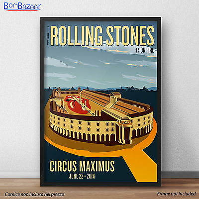 POSTER Rolling Stones ROMA Circo Massimo 22 Giugno rock n' roll gadgets
