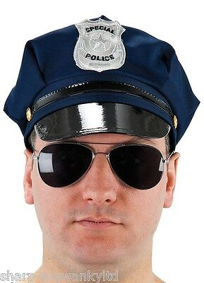 Mens Navy Blue Police Uniform Stag Do Fancy Dress Costume Outfit Hat