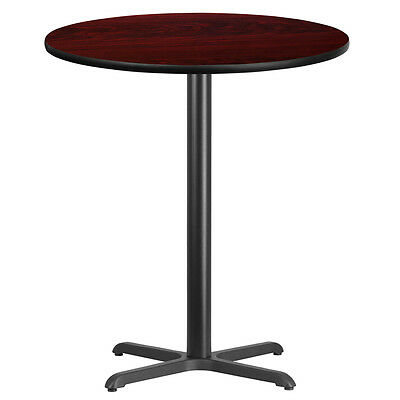 36'' Round Mahogany Laminate Table Top With 30'' X 30'' Bar Height Base