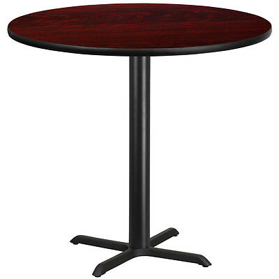 42'' Round Mahogany Laminate Table Top With 33'' X 33'' Bar Height Base
