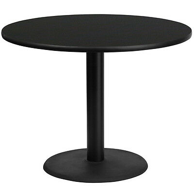 42'' Round Black Laminate Table Top With 24'' Round Table Height Base