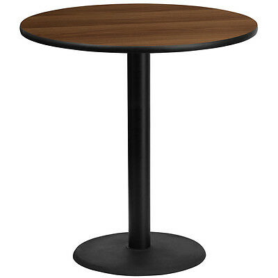 42'' Round Walnut Laminate Table Top With 24'' Round Bar Height Base