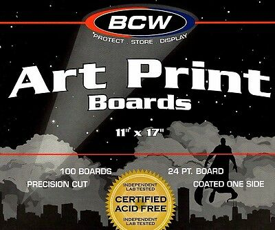 100 New 11X17 Resealable Bags and Boards  Photo Art Print BCW Storage Supplies