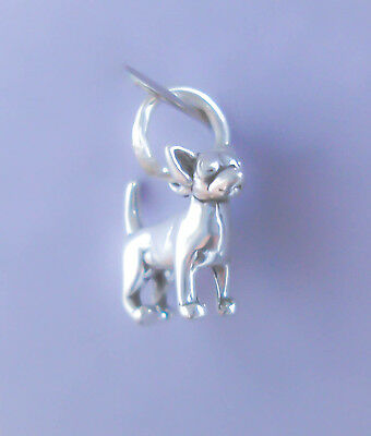 Sterling Silver Chihuahua Charm, 3D Tiny Dog, Small, Mini, Made in USA